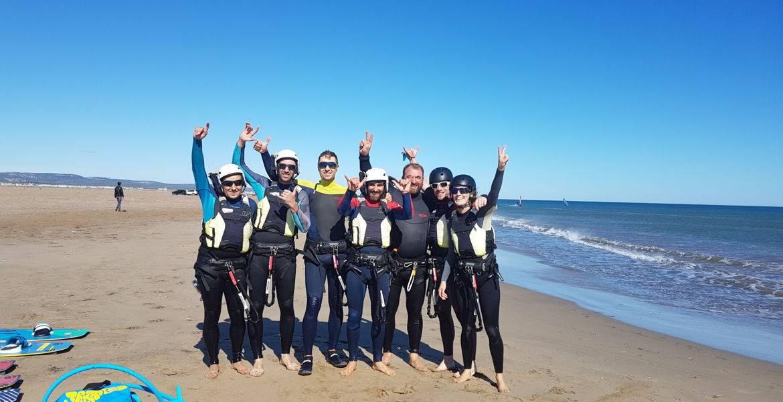 Séance de kitesurf initiation à Narbonne plage ou Gruissan