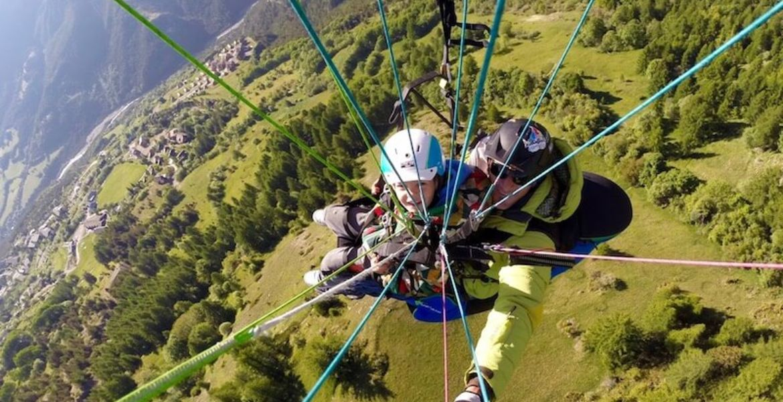 Child paragliding tandem