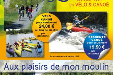 Super promo velo / canoe 24 € par personne au lieu de 34.50 €*