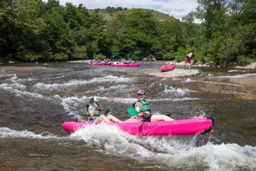 Descente avec guide des gorges du chassezac en canoë-kayak