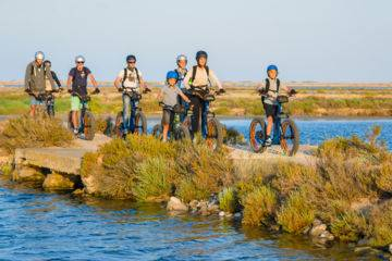 initiation and nature discovery ride on an electric all terrain scooter at gruissan
